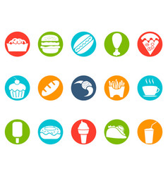 fast foods button icons set vector image vector image
