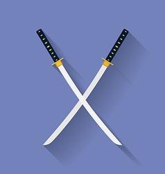 Icon of Katana swords Flat style vector image vector image