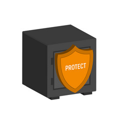 metal safe with shield financial protection vector image vector image
