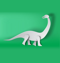 paper art of apatosaurus dinosour on green vector image vector image