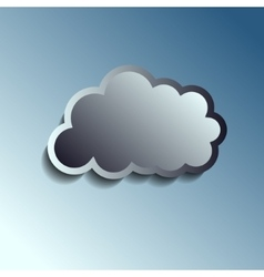 Realistic metal button - cloud icon vector image vector image
