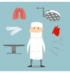 Surgeon profession and medical objects vector image