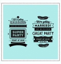 Wedding stamps typography vector image
