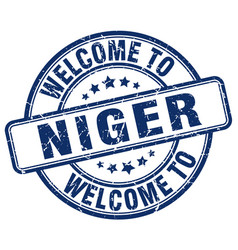 Welcome to niger blue round vintage stamp vector