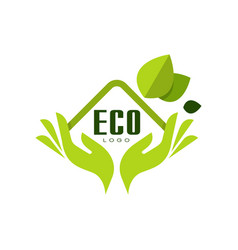 eco logo healthy premium quality label with green vector image