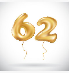 golden number 62 sixty two metallic balloon party vector image vector image