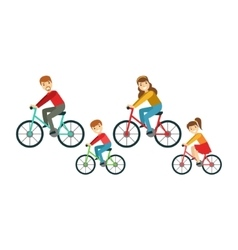 Parents And Kids Riding Bicycles In Park Happy vector image vector image