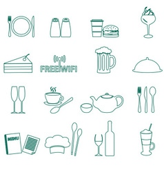 restaurant and pub outline icons set eps10 vector image