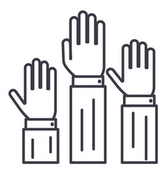 rightsthree hands up line icon sig vector image