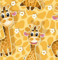 Seamless background with babies giraffes vector image