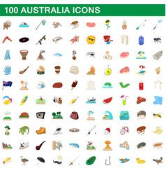 100 australia icons set cartoon style vector image