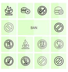14 ban icons vector image