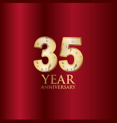 35 year anniversary gold with red background vector