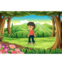 A little man at the jungle vector