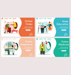 Banners set online order home education vector