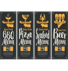 Bbq menu pizza menu seafood menu beer menu vector