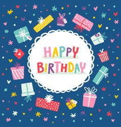 Birthday card and presents frame vector image