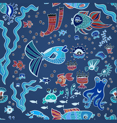 blue doodle children fish pattern vector image