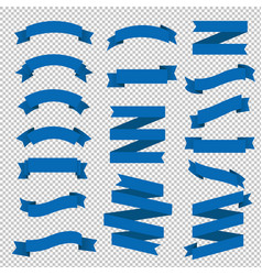 blue ribbon big set transparent background vector image