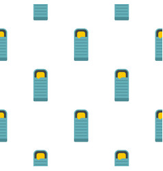 Blue sleeping bag pattern flat vector