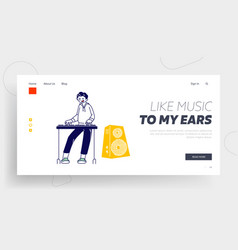 boy playing on synthesizer website landing page vector image