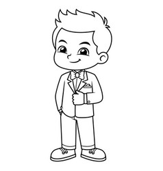 Boy wearing black tuxedo and red bowtie bw vector