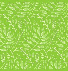 bright green pattern with leaves and branches vector image