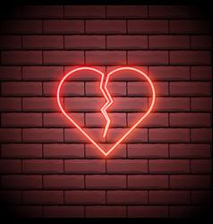 broken heart neon light icon heartbreak glowing vector image