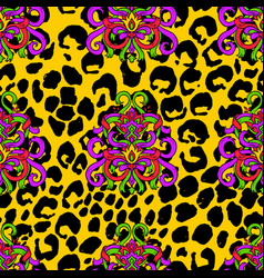 Brush painted tiger seamless pattern yellow vector