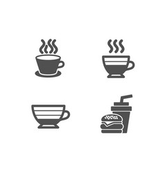 Cappuccino tea cup and cafe creme icons vector