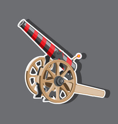 cartoon cannon with cannonballs weapon icon vector image