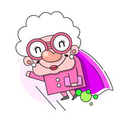 Cartoon grandmother smiling senior flat woman vector