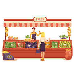 cartoon local farmer market concept vector image