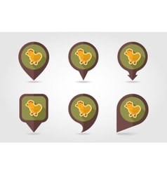 Chicken flat mapping pin icon with long shadow vector image