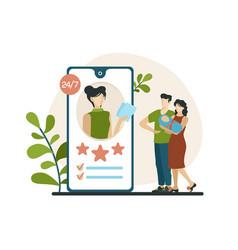 Choosing babysitter in mobile application married vector