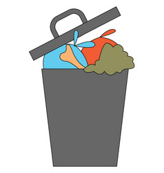 Clipart grey trash can dump with waste or vector