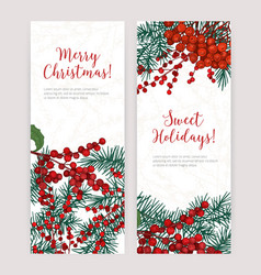 Collection of vertical christmas banners with vector