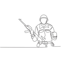 Continuous one line drawing soldier with weapon vector