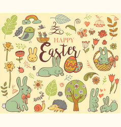 Cute easter symbols vector