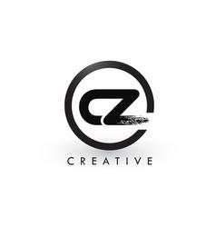 cz brush letter logo design creative brushed vector image