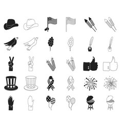 day of patriot holiday blackoutline icons in set vector image