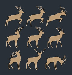 Deer silhouette set vector