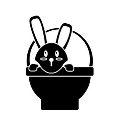 Easter bunny in basket present pictogram vector
