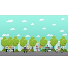 Family in park concept banner People spending vector