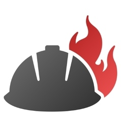 Fire helmet gradient icon vector