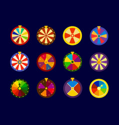 fortune wheels icons set lottery wheel vector image