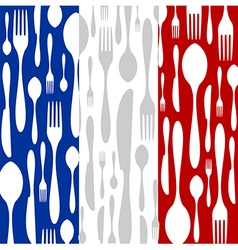 French Cuisine Cutlery pattern on the country flag vector image