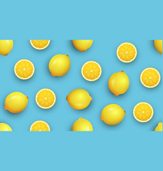 fresh lemon and slices on a vivid blue background vector image