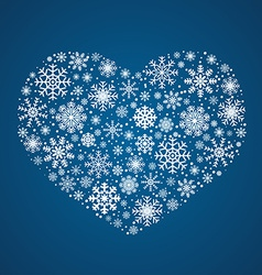 Frosty snowflakes in heart shape vector
