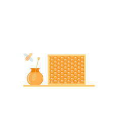 Glass jar of honey and bee on a white background vector
